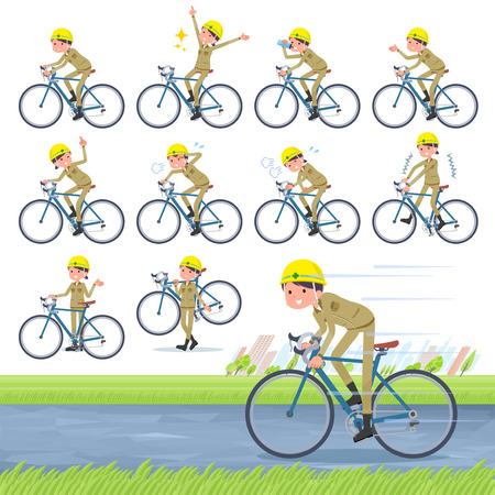 A set of working women on a road bike.There is an action that is enjoying.It's vector art so it's easy to edit.