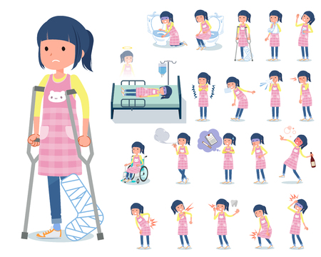 A set of Childminder women with injury and illness.There are actions that express dependence and death.It's vector art so it's easy to edit.