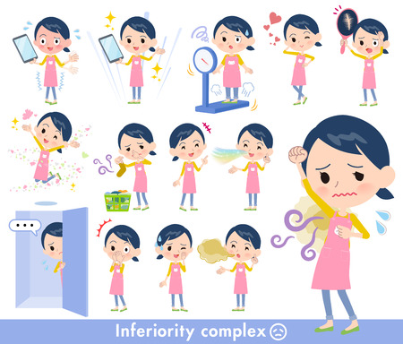A set of Childminder women on inferiority complex.There are actions suffering from smell and appearance.Its vector art so its easy to edit. Çizim