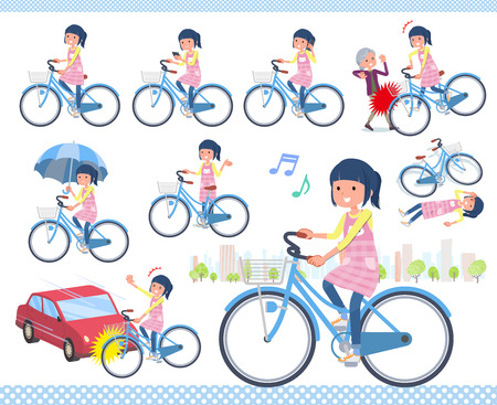 A set of Childminder women riding a city cycle.There are actions on manners and troubles.It's vector art so it's easy to edit.  イラスト・ベクター素材