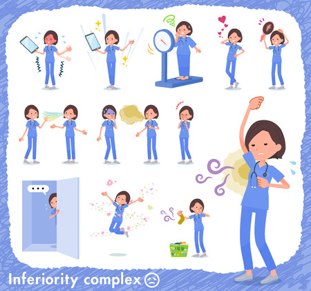 A set of Surgical Doctor women on inferiority complex.There are actions suffering from smell and appearance.It's vector art so it's easy to edit.