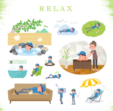 A set of delivery women about relaxing.There are actions such as vacation and stress relief.It's vector art so it's easy to edit.