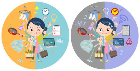 Eine Reihe von Kinderbetreuerinnen, die in Büros und privat Multitasking durchführen. Es gibt Dinge, die reibungslos erledigt werden müssen, und ein Muster, das in Panik gerät. Es handelt sich um Vektorgrafiken, die sich leicht bearbeiten lassen.