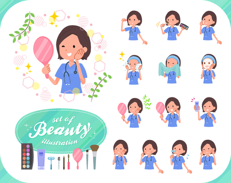 A set of Surgical Doctor women on beauty.There are various actions such as skin care and makeup.Its vector art so its easy to edit. Ilustração
