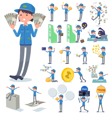 A set of delivery women with concerning money and economy.There are also actions on success and failure.It's vector art so it's easy to edit.