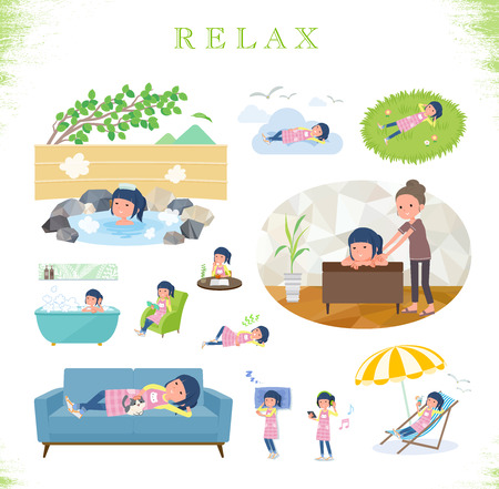 A set of Childminder women about relaxing.There are actions such as vacation and stress relief.Its vector art so its easy to edit.