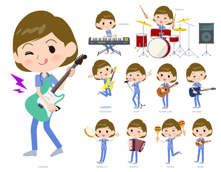 A set of Surgical Doctor women playing rock 'n' roll and pop music.There are also various instruments such as ukulele and tambourine.It's vector art so it's easy to edit.