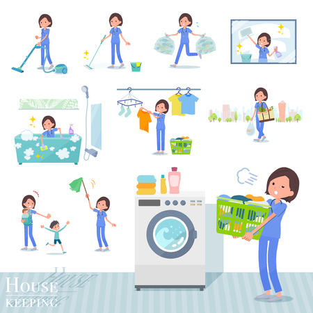 A set of Surgical Doctor women related to housekeeping such as cleaning and laundry.There are various actions such as child rearing.It's vector art so it's easy to edit.