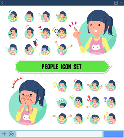 A set of Childminder women with expresses various emotions on the SNS screen.There are variations of emotions such as joy and sadness.It's vector art so it's easy to edit. Illustration