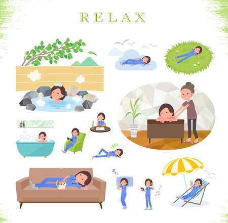 A set of Surgical Doctor women about relaxing.There are actions such as vacation and stress relief.Its vector art so its easy to edit.