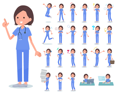 A set of Surgical Doctor women with who express various emotions.There are actions related to workplaces and personal computers.It's vector art so it's easy to edit. Vektorové ilustrace