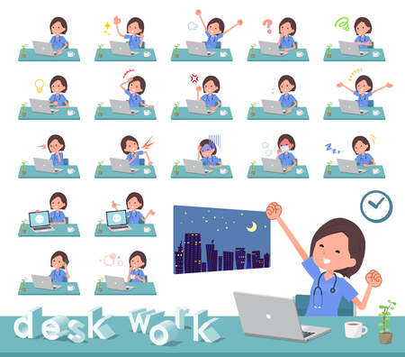 A set of Surgical Doctor women on desk work.There are various actions such as feelings and fatigue.Its vector art so its easy to edit. Illustration