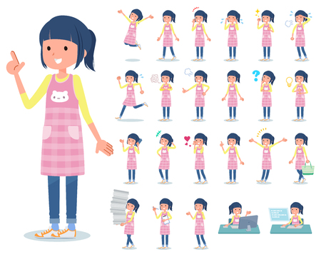 A set of Childminder women with who express various emotions.There are actions related to workplaces and personal computers.It's vector art so it's easy to edit.