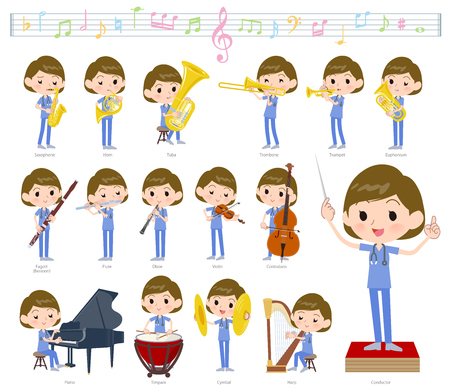 A set of Surgical Doctor women on classical music performances.There are actions to play various instruments such as string instruments and wind instruments.It's vector art so it's easy to edit.