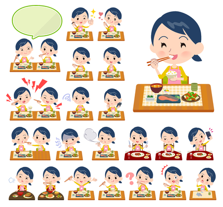 A set of Childminder women about meals.Japanese and Chinese cuisine, Western style dishes and so on.It's vector art so it's easy to edit.