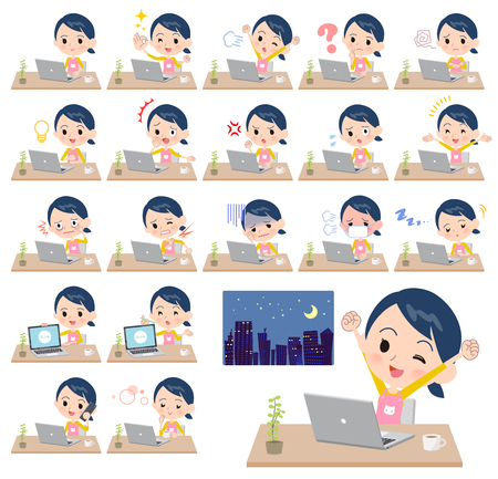 A set of Childminder women on desk work.There are various actions such as feelings and fatigue.Its vector art so its easy to edit. Illustration
