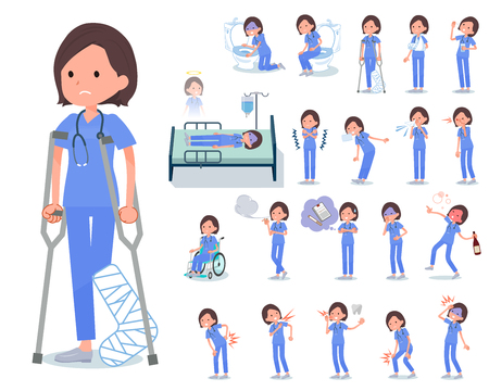 A set of Surgical Doctor women with injury and illness.There are actions that express dependence and death.It's vector art so it's easy to edit.