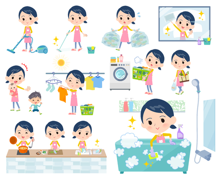 A set of Childminder women related to housekeeping such as cleaning and laundry.There are various actions such as cooking and child rearing.It's vector art so it's easy to edit.