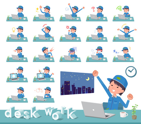 A set of delivery women on desk work.There are various actions such as feelings and fatigue.Its vector art so its easy to edit.