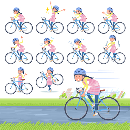 A set of Childminder women on a road bike.There is an action that is enjoying.Its vector art so its easy to edit.  イラスト・ベクター素材