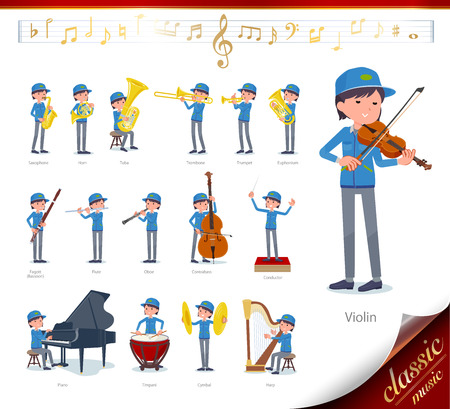 A set of delivery women on classical music performances.There are actions to play various instruments such as string instruments and wind instruments.It's vector art so it's easy to edit.