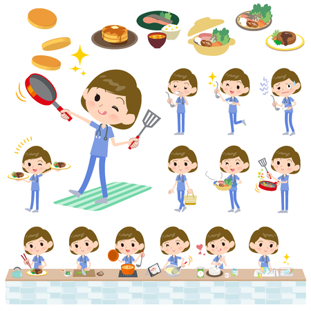 A set of Surgical Doctor women about cooking.There are actions that are cooking in various ways in the kitchen.It's vector art so it's easy to edit. Ilustrace