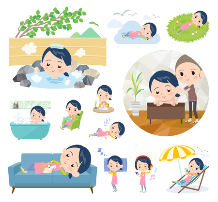 A set of Childminder women about relaxing.There are actions such as vacation and stress relief.It's vector art so it's easy to edit.