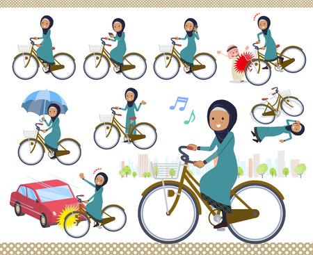 Eine Reihe alter Frauen, die Hijab tragen, die einen Stadtzyklus reiten. Es gibt Aktionen zu Manieren und Problemen. Es handelt sich um Vektorgrafiken, die leicht zu bearbeiten sind.