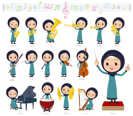 A set of old women wearing hijab on classical music performances.There are actions to play various instruments such as string instruments and wind instruments.Its vector art so its easy to edit.