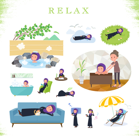 A set of women wearing hijab about relaxing.There are actions such as vacation and stress relief.Its vector art so its easy to edit.