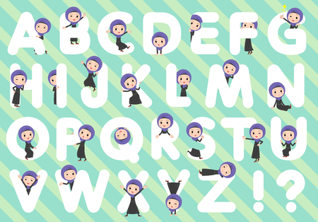 A set of women wearing hijab designed with alphabet.Characters with fun expressions pose various poses.It's vector art so it's easy to edit.