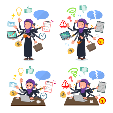 A set of women wearing hijab who perform multitasking in the office.There are things to do smoothly and a pattern that is in a panic.It's vector art so it's easy to edit.