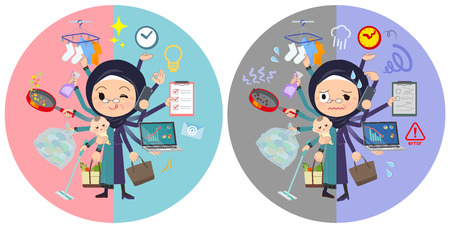 A set of old women wearing hijab who perform multitasking in offices and private.There are things to do smoothly and a pattern that is in a panic.It's vector art so it's easy to edit.