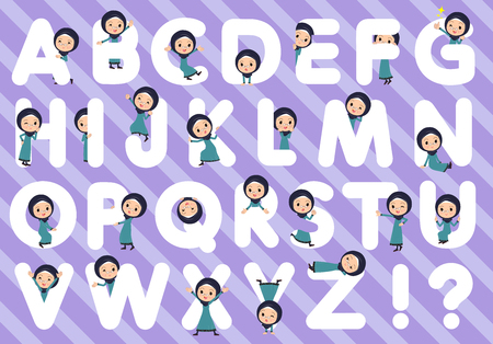 A set of old women wearing hijab designed with alphabet.Characters with fun expressions pose various poses.Its vector art so its easy to edit.