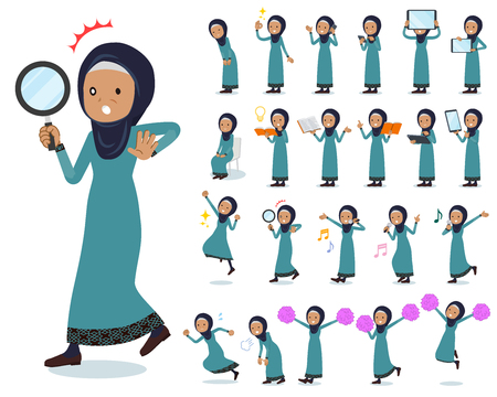 A set of old women wearing hijab with digital equipment such as smartphones.There are actions that express emotions.It's vector art so it's easy to edit. Иллюстрация