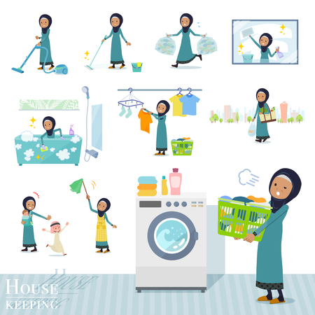 A set of old women wearing hijab related to housekeeping such as cleaning and laundry.There are various actions such as child rearing.It's vector art so it's easy to edit. Ilustração