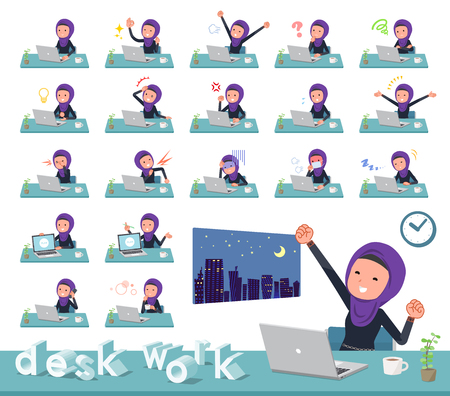 A set of women wearing hijab on desk work.There are various actions such as feelings and fatigue.It's vector art so it's easy to edit.