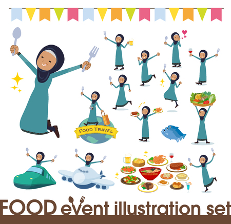 A set of old women wearing hijab on food events.There are actions that have a fork and a spoon and are having fun.It's vector art so it's easy to edit.