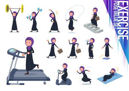 A set of women wearing hijab on exercise and sports.There are various actions to move the body healthy.Its vector art so its easy to edit.