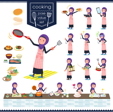 A set of women wearing hijab about cooking.There are actions that are cooking in various ways in the kitchen.It's vector art so it's easy to edit.