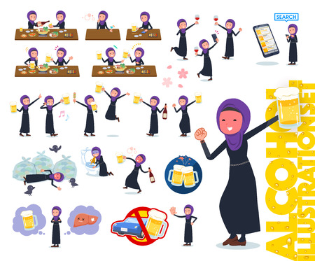 A set of women wearing hijab related to alcohol.There is a lively appearance and action that expresses failure about alcohol.It's vector art so it's easy to edit.