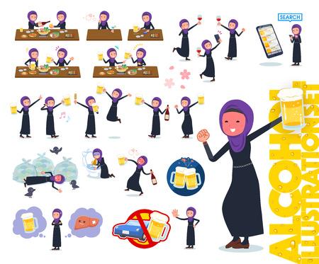 Zestaw kobiet noszących hidżab nawiązujący do alkoholu. Jest to żywy wygląd i działanie, które wyraża niepowodzenie w kwestii alkoholu. To grafika wektorowa, więc łatwo ją edytować.