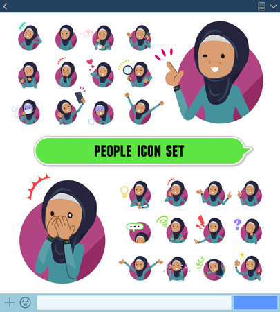 A set of old women wearing hijab with expresses various emotions on the SNS screen.There are variations of emotions such as joy and sadness.It's vector art so it's easy to edit.