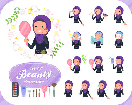 A set of women wearing hijab on beauty.There are various actions such as skin care and makeup.Its vector art so its easy to edit.