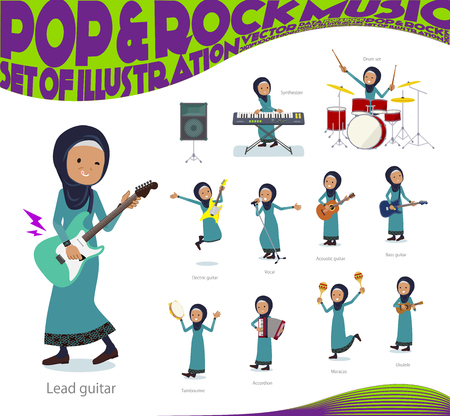 A set of old women wearing hijab playing rock 'n' roll and pop music.There are also various instruments such as ukulele and tambourine.It's vector art so it's easy to edit.