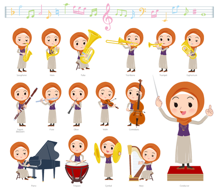 A set of women wearing hijab on classical music performances.There are actions to play various instruments such as string instruments and wind instruments.Its vector art so its easy to edit.  イラスト・ベクター素材
