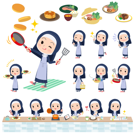 A set of Nun women about cooking.There are actions that are cooking in various ways in the kitchen.Its vector art so its easy to edit.