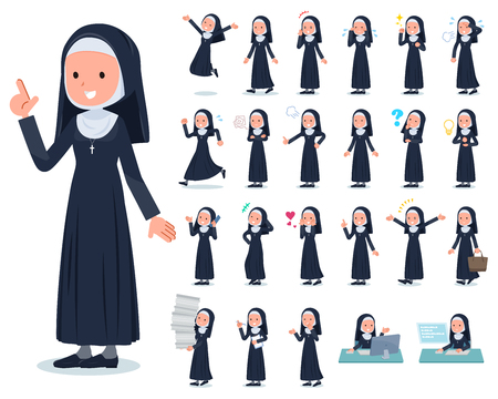 A set of Nun women with who express various emotions.There are actions related to workplaces and personal computers.Its vector art so its easy to edit.