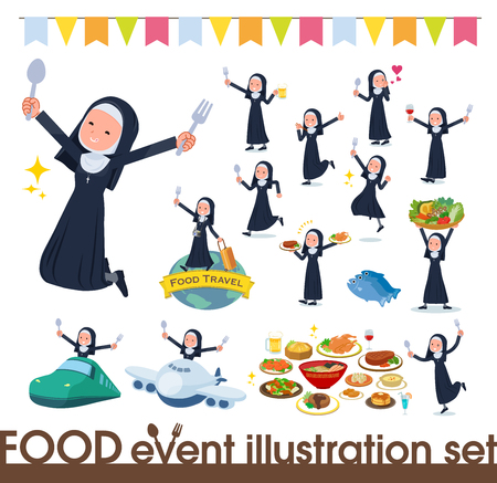 A set of Nun women on food events.There are actions that have a fork and a spoon and are having fun.It's vector art so it's easy to edit. Banque d'images - 112646855