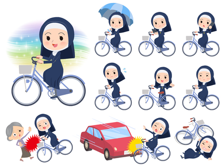 A set of Nun women riding a city cycle.There are actions on manners and troubles.It's vector art so it's easy to edit.